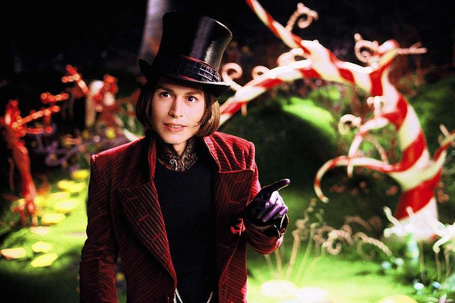 """Jako Willy Wonka w filmie """"Charlie i fabryka czekolady"""" (2005), reż. Tim Burton"""