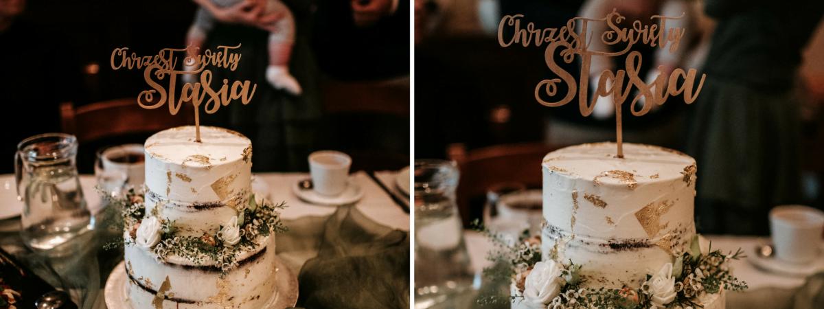 Tort na chrzest święty Stasia. Nasz wybór: żywe kwiaty i jadalne złoto